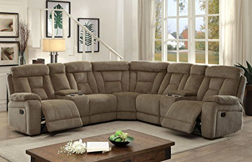 Reclining Mocha Loveseat (Esofastore Living Room Reclining Sectional w Console Loveseat Corner Cup holder Storage Chenille Fabric Mocha Plush Cushion)