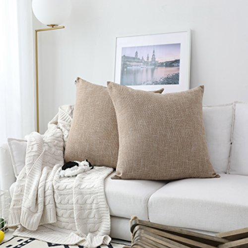 Kevin Textile Decor Burlap Natural Style Lined Linen Throw Pillow Cases Cushion Cover for Bed/Sofa, 26x26 inch(2 Pieces, Natural Linen) (Pillows Decor)
