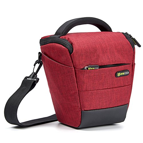 Camera Case Evecase Digital SLR / DSLR Professional Camera Shoulder Bag For Compact system, Hybrid, Mirrorless, Micro 4/3 and High Zoom Camera - Wine Red (Compact 35mm Slr Camera Bag)