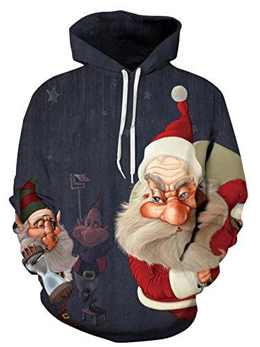 Lunghe di Leezeshaw cappuccio Divertente Colourful Maniche pi Unisex Natale di HD 3D Felpa Patterned Stampato Pullover Natale vRF5wqxR