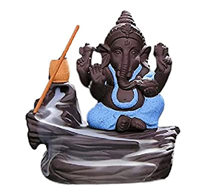 Decora Craft Lord Bal Ganesha Smoke Fountain Polyresin Incense Burner with 10 Backflow Scented Cone Incense (Blue)