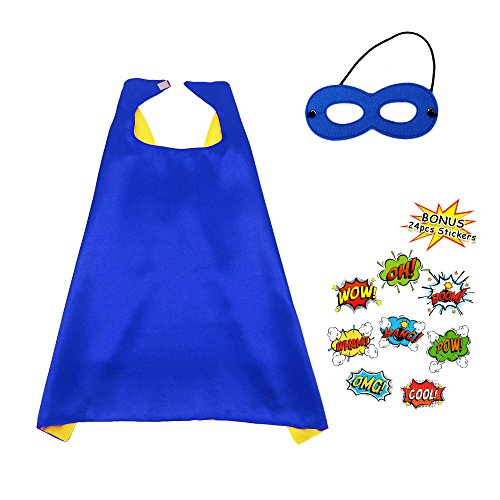 Superhero Dress up Cape and Mask Kids Costume Reversible with DIY Stickers-Boys Girls Pretend Play Party Supplies (Diy Pirate Costume For Girls)