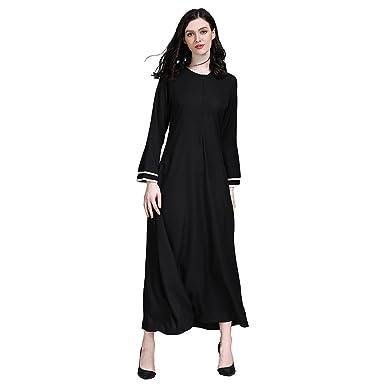 Hougood Women Abaya Dresses Maxi Dress Muslim Islamic Cloaks Robes Trumpet  Sleeves Loose Dress Dubai Arabic a3d0e8cdcabd