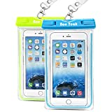 Waterproof Case, 2 Pack Ace Teah Clear Universal Waterproof Case, Dry Bag, Pouch, Transparent Snowproof Dirtproof for iPhone 6S Plus SE 5S 5C, Samsung Galaxy S7 S6 edge, Note 5 4 3 - Blue, Green