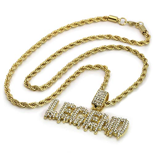(Jewel Town Mens Hip Hop 14k Gold Plated Iced Out Cz Drip Legend Pendant Rope Chain 24