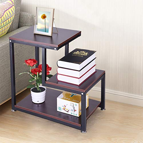 Sodoop Nightstand Storage Shelf, 3-Tier Chair Side Table Metal Night Stand Lamp -