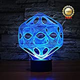 Decorative 3D Glow LED Night Light 7 Changeable Colors Art Sculpture Optical Illusion Lamp Touch Sensor Perfect for Home Party Festival Decor Great Gift Idea (Art Sculpture J)