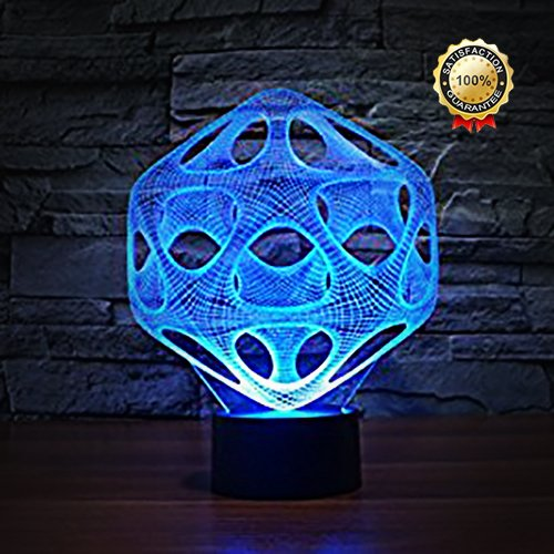 Decorative 3D Glow LED Night Light 7 Changeable Colors Art Sculpture Optical Illusion Lamp Touch Sensor Perfect for Home Party Festival Decor Great Gift Idea (Art Sculpture J) by Dende