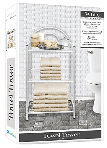 DINY Home Collections Deluxe Spa Tower 3 Tier Towel & Bathroom Accessory Rack White by DINY Home Collections