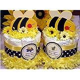 CUTE AS CAN BEE Bumble Bee Mini Diaper Cakes - Handmade...