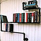 YUEQISONG Vintage Bookshelf Industrial Water Pipe Iron Bookshelf Simple Bookshelf Display Stand W120CmH90CmD13Cm