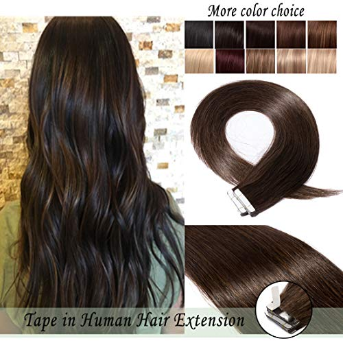 S-noilite Rooted Tape in Human Hair Extension for Women Glue in Remy Human Hair Piece Seamless Skin Weft Invisible Double Tape Full Head Straight 40 Pcs 100 Gram 14Inch #02 Dark Brown