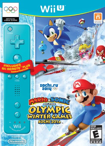Mario & Sonic Sochi 2014 Olympic Winter Games with Blue Wii Remote Plus - Wii U by Nintendo