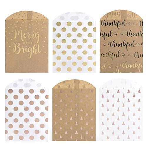 UNIQOOO 72 Pcs Holiday Party Favor Gold Foil Treat Bags Bulk, 7 ½ x4 ¾ x ½  Food Safe Biodegrade Paper,Goody Cookie Candy Bags for Christmas,Thanksgiving,Kids Birthday Party Supplies Decoration