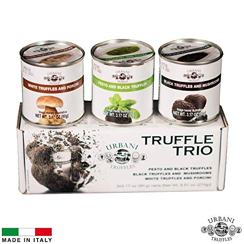 Pasta With Porcini Mushrooms - Truffle Sauce Thrills TRIO: Black Truffles and Mushrooms, Porcini and Truffles, Pesto and Black Truffles. 4oz Each.