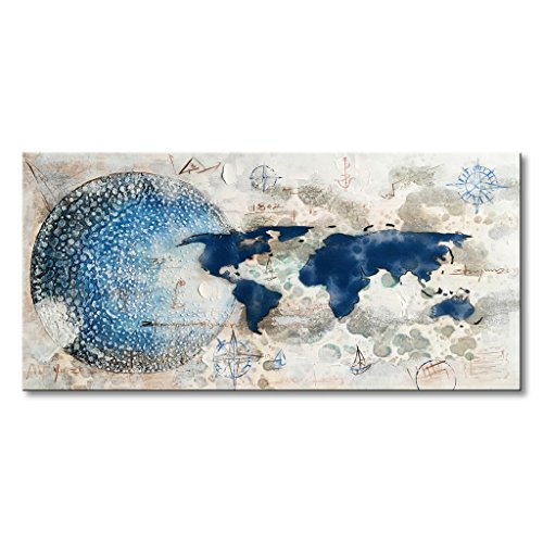 EVERFUN ART Everfun Hand Painted World Map Wall Art Modern Abstract Oil Painting on Canvas Contemporary Earth Blue White Home Decor with Frame 40''Wx20''H by EVERFUN ART