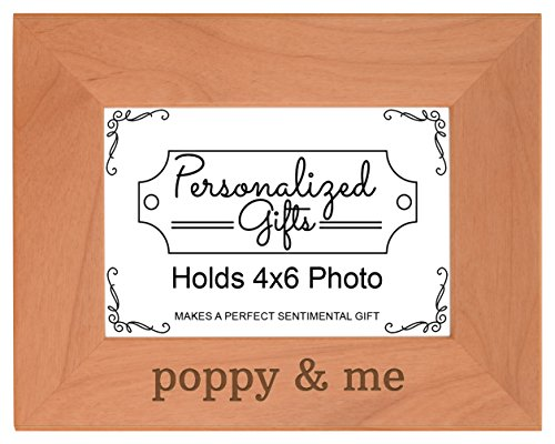 Personalized Gifts Grandpa Gift Poppy Me Grandchild Natural Wood Engraved 4x6 Landscape Picture Frame Wood