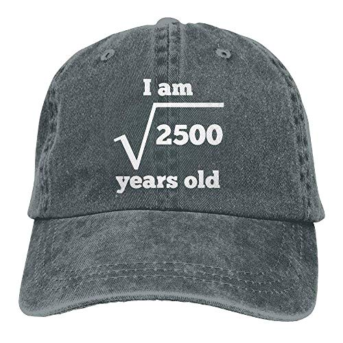 - large-scale 50 Years Old Square Root Funny 50th Birthday Adjustable Baseball Cotton Washed Denim Hat Navy AsphaltOne Size