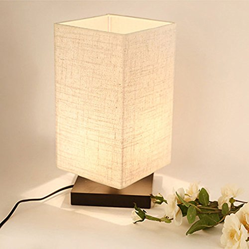 ZEEFO Simple Table Lamp Bedside Desk Lamp With Fabric Shade and Solid Wood for Bedroom, Dresser, Living Room, Baby Room, College Dorm, Coffee Table, Bookcase (Flaxen) (Wood Contemporary Table Lamp)