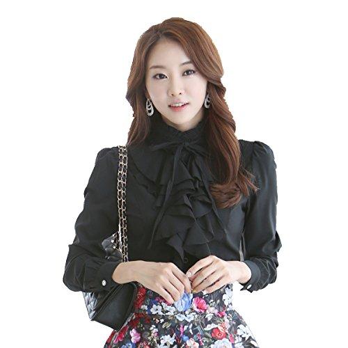 Shirt Stand Collar Ruffle (Dreamstar StarDream High Neck Blouse Women Vintage Victorian Ruffle Chiffon Career Shirt (TagL=USsize6-8, Black))