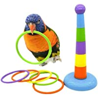 Pet Birds Toys Set Ferrule Game Plastic Rings Bird Training Toys Parrot Intelligence Toy Height Adjustable Toss Ring for…