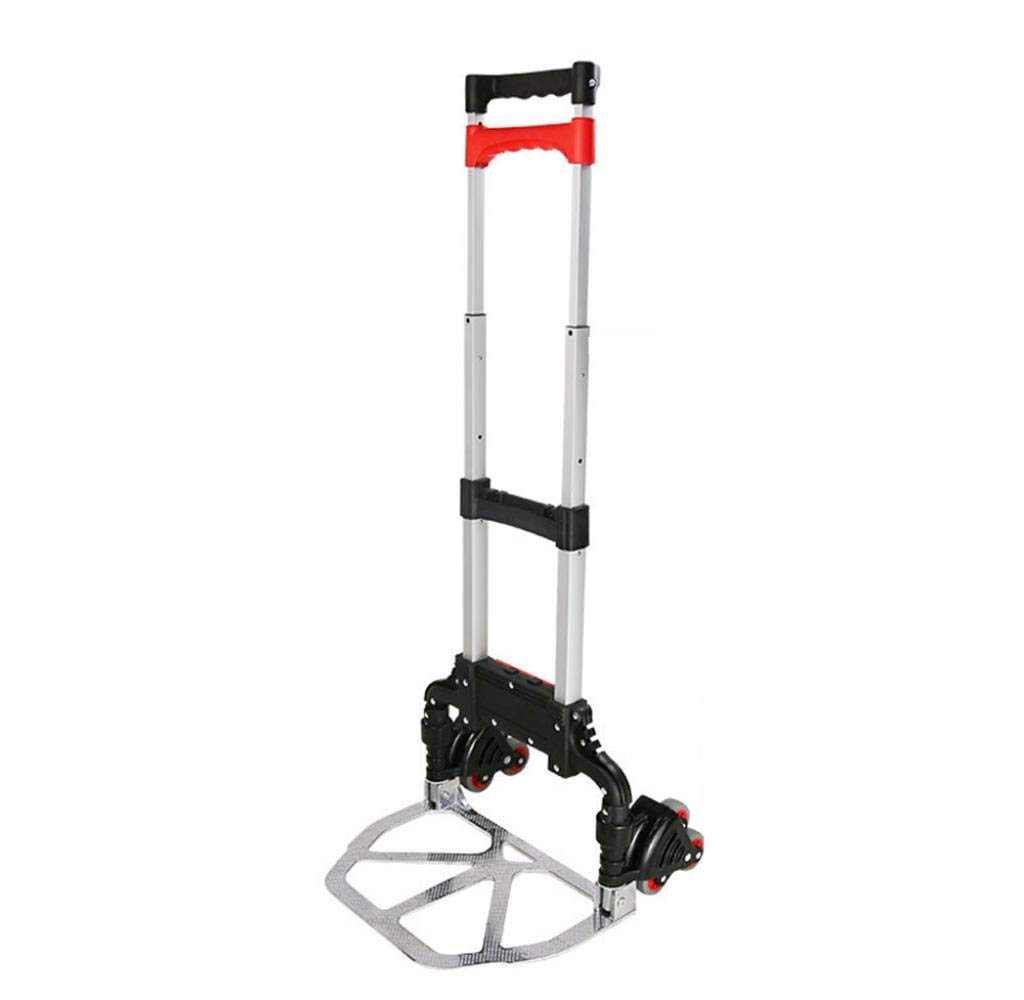 Folding Luggage Cart Trolley Portable Light Trailers Self-Weight 3.3Kg Maximum Load 68Kg, red by Hokaime