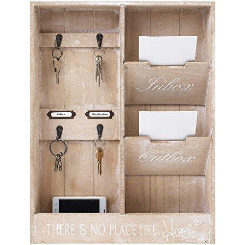 Edler Wandorganizer - Memoboard mit Schlüsselbrett und 2 Holztaschen, 48x36x7cm, Holz Memotafel Flur Diele Dekoration