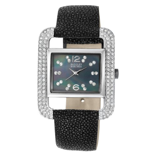 badgley-mischka-womens-ba1083bmbk-swarovski-crystal-accented-silver-tone-black-stingray-strap-watch
