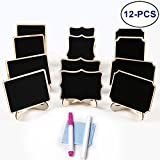 LJDJ Reusable Mini Chalkboards Signs with Easel Stand - Set of 12 Small Blackboard Decorative Wood Rectangle Message Board for Weddings, Parties, Table Numbers, Food Signs, Special Event Decoration