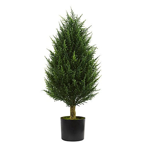 Evergreen Topiary (Nearly Natural 3' Cypress Tower Artificial Tree, UV Resistant (Indoor/Outdoor) 3, Green)