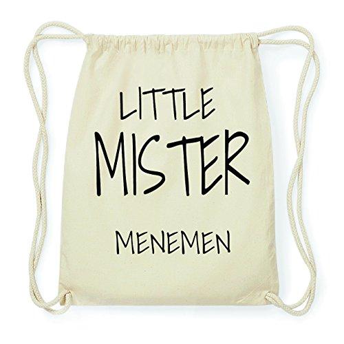 JOllify MENEMEN Hipster Turnbeutel Tasche Rucksack aus Baumwolle - Farbe: natur Design: Little Mister 5NQjhSA9o