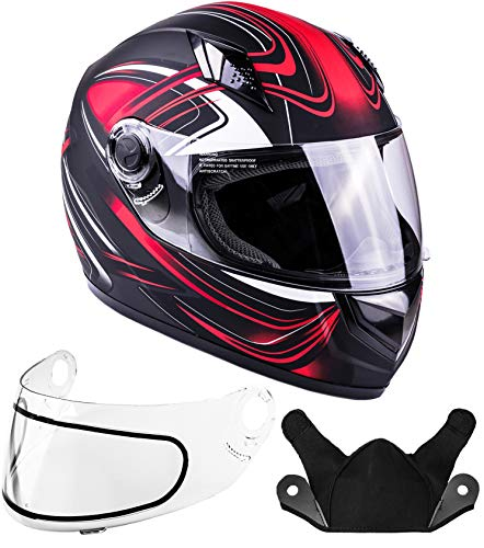 (Typhoon Helmets Adult Full Face Snowmobile Winter Helmet DOT (Red, XXL))
