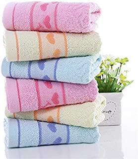 PWTY 6 Pcs / 1Set 100% Coton Serviette Gant De Toilette Doux Sport Gym Confortable Voyage Serviette Adultes Absorbants Serviettes De Douche 33X74Cm