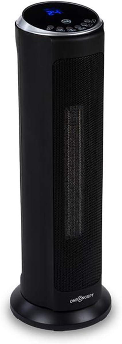 Oneconcept Heat Spire - Calefactor de Torre, Calentador Ventilador, Temporizador 8 h, Termostato, 3 velocidades, Oscilador, Calor Ajustable, Panel de Control táctil, Mando a Distancia, Negro
