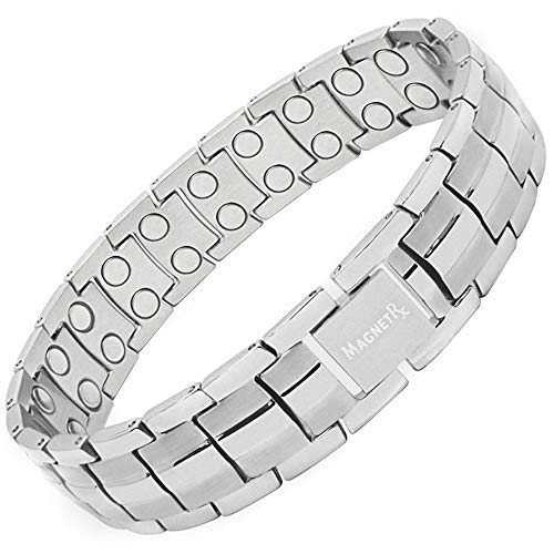 MagnetRX Ultra Strength Men's Magnetic Bracelet - Arthritis Pain Relief & Carpal Tunnel Magnetic Therapy Bracelets | Adjustable with Gift Box ... (Silver)