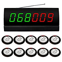 SINGCALL Wireless Calling System,for Shop,Bank,Wireless Waiter Paging System,Pack of 10 pcs Service Buzzers and 1 pc Signal Receiver of APE2600