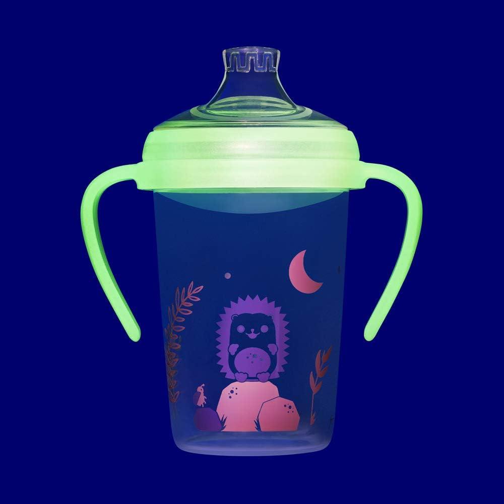 Trinklernflasche Doppelpack Auslaufschutz 2er Pack 6 Monate+ Girls BPA frei NIP Trinklernbecher Soft-Silikon Schnabel 270 ml LEUCHTEND made in Germany