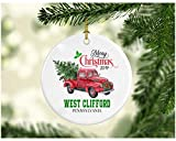 Christmas Decoration Tree Merry Christmas Ornament 2019 West Clifford Pennsylvania Funny Gift Xmas Holiday As a Family Pretty Rustic First Christmas in Our New Home Ceramic 3' White