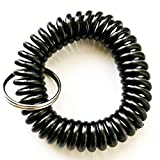 100PCS Black Color Soft High Quality Spring Spiral Coil Elastic Wrist Band Key Ring Chain