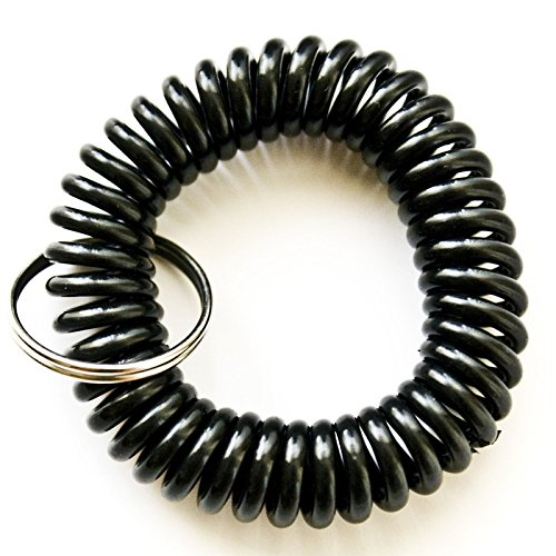[100PCS Black Color Soft High Quality Spring Spiral Coil Elastic Wrist Band Key Ring Chain] (Wrist Coil Key Ring)