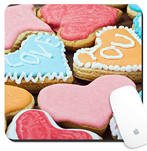 Luxlady Suqare Mousepad 8x8 Inch Mouse Pads/Mat design IMAGE ID: 24176548 Valentine cookies with the words I love you on the table