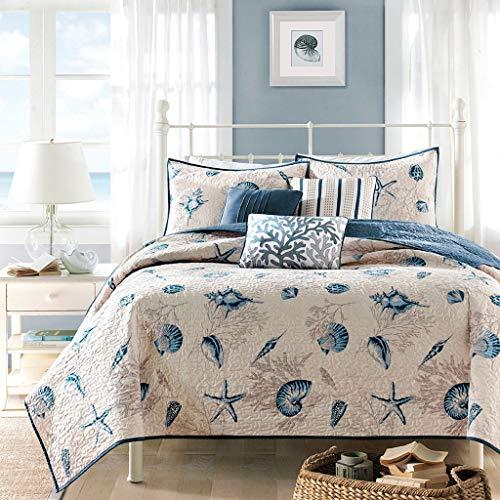 mixinni Beach Theme Quilt Set Blue Seashell Pattern for Teen Boy Girls 2 Pcs Quilt Bedspread Set Kids Twin Size (Bedspreads Sale Girl)