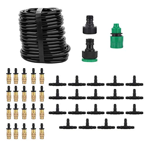 - Irrigation System - 15m 20 Copper Nozzle Hosepipe Plant Self Watering Dripper Kit for Plants Drip Water Fountain Green