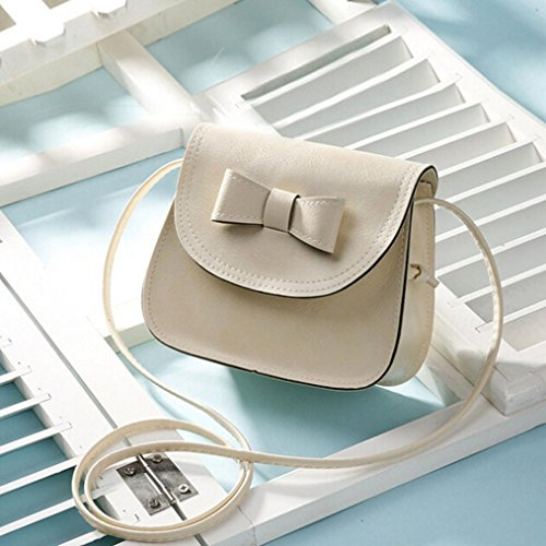 Shoulder Bowknot Cross GBSELL Body Leather Women Bucket Bag Beige Fashion Handbag Bg8SwUq
