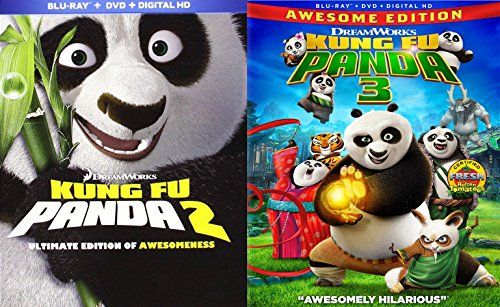 Kung Fu Panda Blu Ray Blu Ray DVD part 2 & 3 Animated Bundle Cartoons Dreamworks movie Set