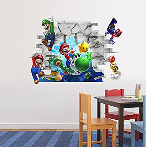 Amazon Com Super Mario 3d Kids Nursery Removable Wall Decal Vinyl Stickers Art Home Decor Kitchen Dining