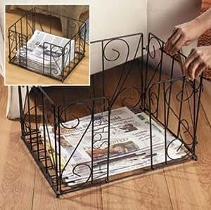 Black Metal Newspaper Magazine Recycle Bin Holder Rack Caddy Home Decor