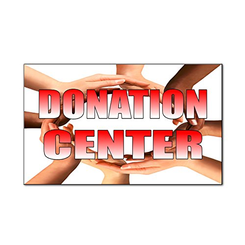 Donation Center With Human Hands Style 2 Car Door Magnets Magnetic Signs Qty 2   9 X 12 Inches