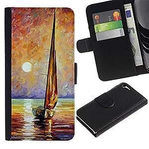 LASTONE PHONE CASE / Lujo Billetera de Cuero Caso del tirón Titular de la tarjeta Flip Carcasa Funda para Apple Iphone 5 / 5S / Ship Sea Sun Summer Captain