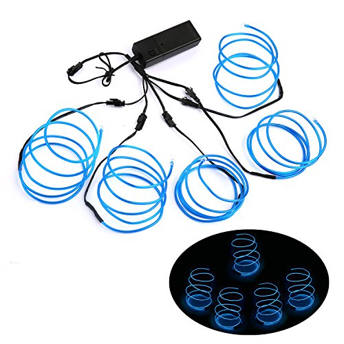 Blazing Fun Shapable EL Wire, Neon Glowing Super Bright LED Cable/EL Wire With AA Battery Inverter For Halloween Christmas Party DIY Decoration, 5 by 1 Meter (Blue)